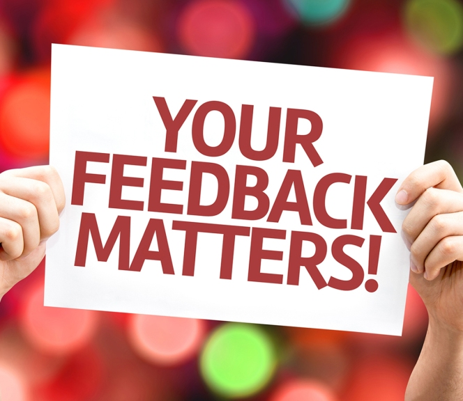 Your Feedback Matters card with colorful background with defocus